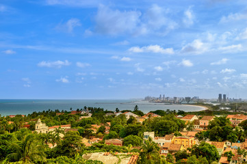 Recife and Olinda cityscape landscape with ocean and sky