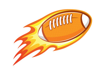 rugby ball with flame