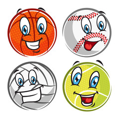 set of cartoon ball