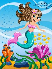 Little Mermaid swimming underwater