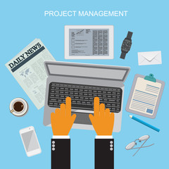 project management, flat vector illustration