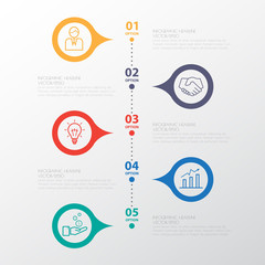 Color Step Design clean number timeline template/graphic or webs