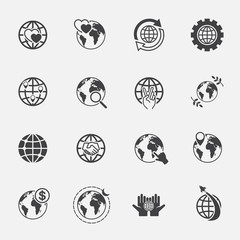global and world sign icons set.jinkzcircleline
