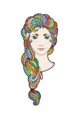 Beautiful girl with intricately patterned, zentangle braid and