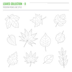 Set of leaves in modern, line style