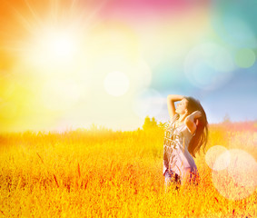 Happy free woman enjoy freedom and nature