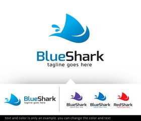 Blue Shark Logo Template Design Vector