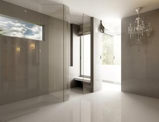 3D render empty room interior with chandelier in Luxury style