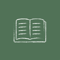 Open book icon drawn in chalk.