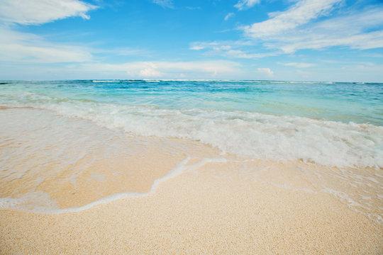 Wonderful tropical beach with blue sky