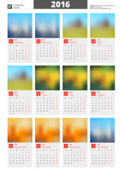 Wall Calendar Poster for 2016 Year. Vector Design Print Template with Place for Photo. Week Starts Monday