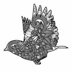 Hand drawn bird for adult anti stress Coloring Page with high details isolated on white background, illustration in zentangle style. Vector monochrome sketch.
