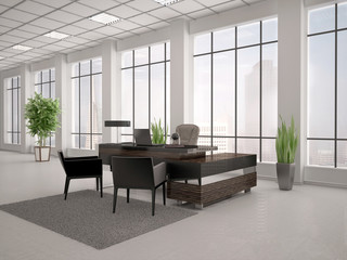 3d illustration of modern workplace in an office with large wind