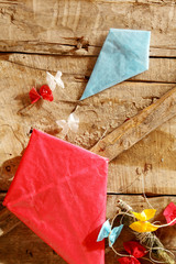 Two colorful handmade paper kites