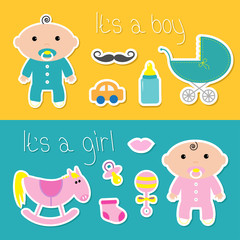 Its a boy girl banner set Baby shower card with bottle, horse, rattle, pacifier, sock, car, mustaches, lips, carriage. Cute background. Flat design