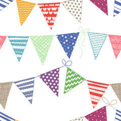 Seamless pattern with multicolored bright buntings garlands.