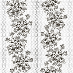 Monochrome seamless pattern with juniper.