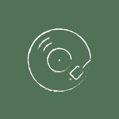 Turntable icon drawn in chalk.