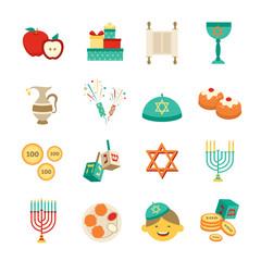 Symbols Of Hanukkah Icons Set