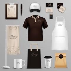Restaurant cafe corporate identity icons set