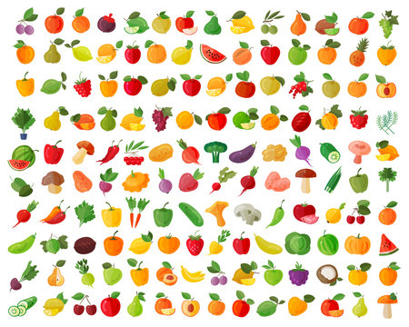 fruit and vegetables color icons set