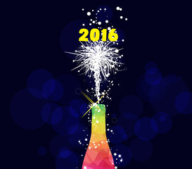 Happy new year 2016 greeting card or poster design with colorful triangle champagne explosion