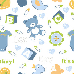 Colorful baby boy seamless pattern
