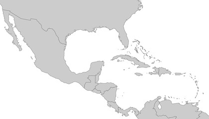 Mittelamerika - Karte in Grau