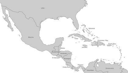 Mittelamerika - Karte in Grau (mit Beschriftung)
