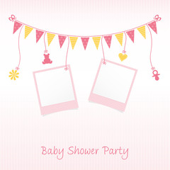 Baby Shower Party Card with Polaroids
