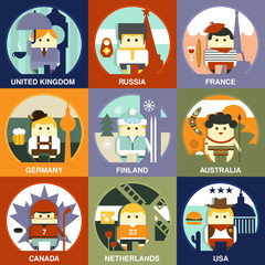 People of Different Nationalities Flat Style Vector Illustration