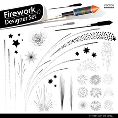Collection of Vector Firework Rocket Explosion Effects. New Years Eve Design Templates. Silvesterraketen, Silvester, Raketen, Set, Vorlage, Sortiment, Silhouette, Schattenriss. Neujahr - Kollektion.