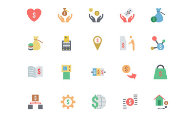 Flat Card Payment Vector Icons 6