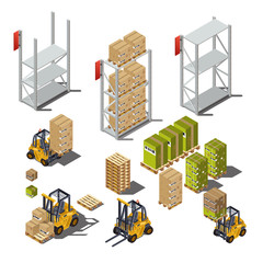 Isolated objects with an industrial warehouse, forklift, shelves, boxes, pallets. Vectors illustration