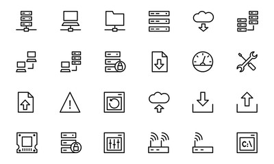 Database and Server Line Vector Icons 1