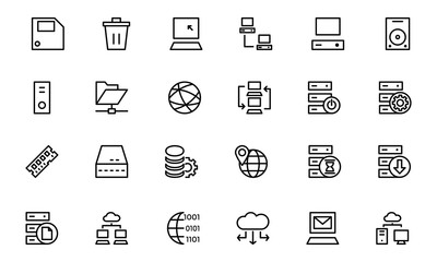 Database and Server Line Vector Icons 2