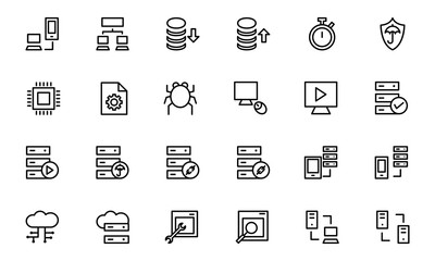 Database and Server Line Vector Icons 4