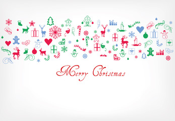 Merry christmas greeting card - xmas decoration pattern with text