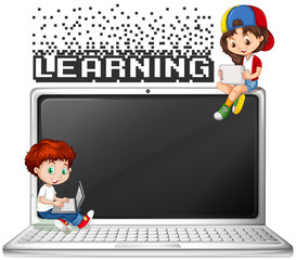 Boy and girl using computer