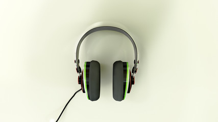 Headphones on a refelctive white surface