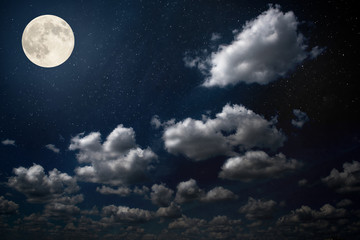 night sky with moon and clouds. Elements of this image furnished by NASA.
