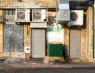 Shop rear; The rear of a London business in Hackney, East London.