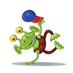 Funny cartoon alien  breakdancer