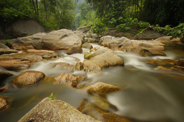 The rapid was shot under long exposure of 30 second to have a silky smooth water flow.