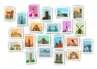 postage stamp. travel icons set
