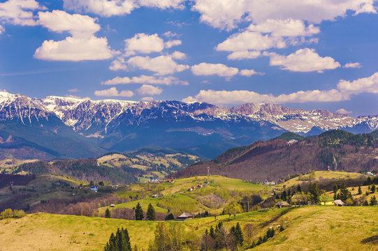 landscape with bucegi mountains in Romania