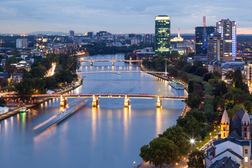 Wall Mural - River Main in Frankfurt at dusk