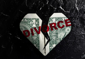 Cracked heart divorce dollar