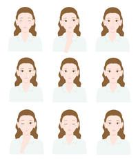 様々な表情の女性