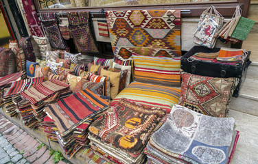 Traditional cushions and carpets in street,Istanbul,Turkey.